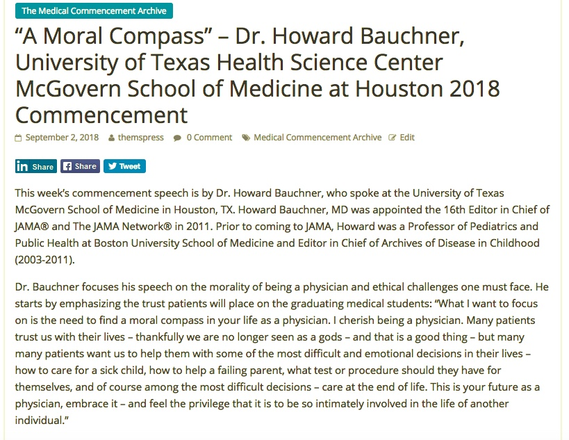 "A Moral Compass"" – Dr  Howard Bauchner, University of Texas"